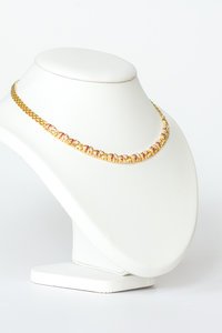 18 Karaat geelgouden Collier met Diamant & Robijn - 44 cm