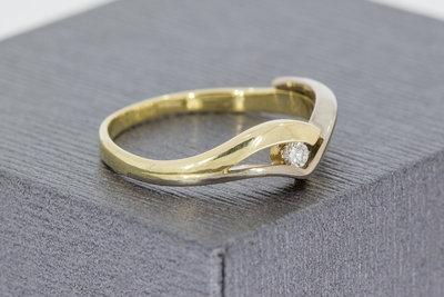 14 Karaat gouden Ring met briljant geslepen Diamant (0.035 crt)