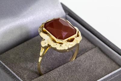 14 Karaat gouden Vintage Markies ring met Carneool - 19,4