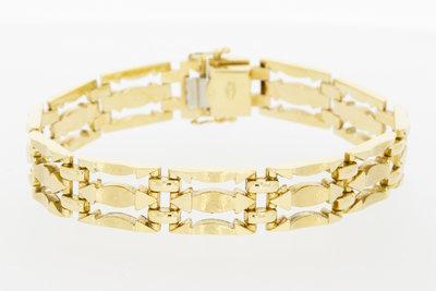 14 K brede gouden schakelarmband - 19,5 cm