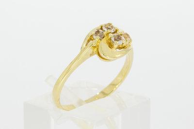 14 Karaat bicolor gouden ring gezet met Zirkonia