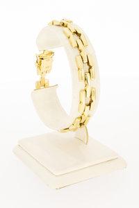 14 Karaat gouden armband met vierkante schakels - 19 cm
