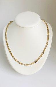 14 K bicolor gouden Gourmet schakelketting- 61 cm