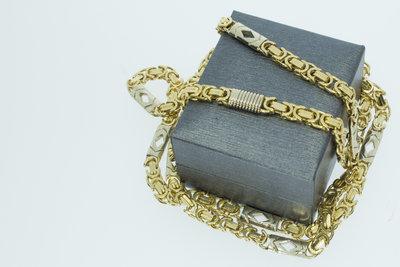 Gouden platte Koningsketting- 82 cm