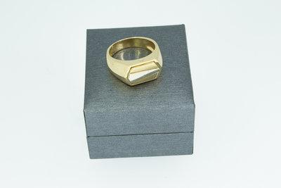 14 Karaat gouden zegelring met een bicolor Zegelbed