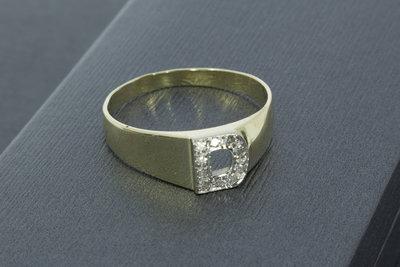 """14 Karaat geel gouden Statement ring met letter """"D"""""""