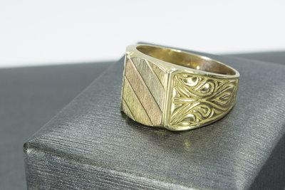 14 Karaat gouden Statement ring met tricolor zegelbed