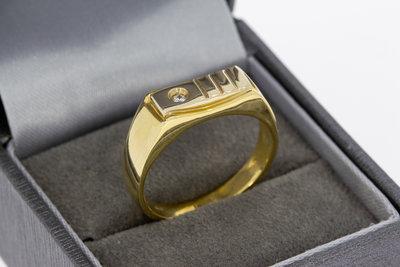 14 Karaat gouden Statement ring gezet met Zirkonia