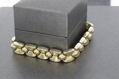 14 Karaat gouden brede armband met bakslot - 20cm