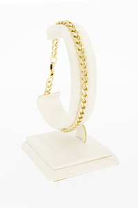 14 Karaat geel gouden -open- Gourmet armband - 21 cm