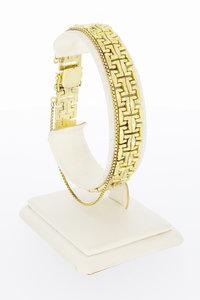14 karaat gefigureerde gouden schakel armband - 19 cm