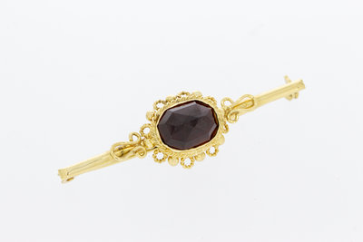 14 Karaat geel gouden vintage Broche gezet met Granaat