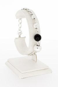 Zilveren Gourmet schakel armband met Onyx - 20 cm