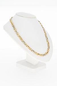 14 Karaat gouden bicolor Rolex schakelketting - 60 cm