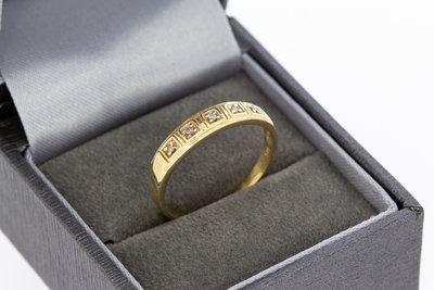14 karaat gouden Rij- ring met diamant