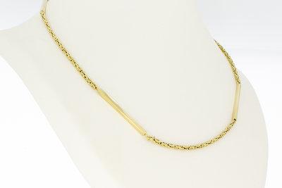 "14 karaat geelgouden koningsketting met ""balkjes""- 72,5 cm"