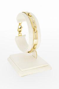 14 karaat bicolor gouden gefigureerde armband - 18,5 cm