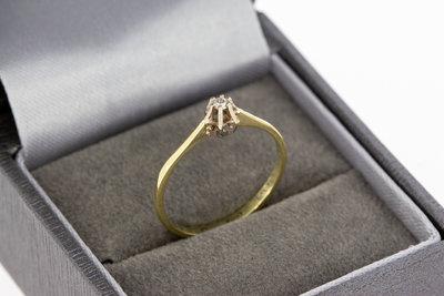 14 Karaat bicolor gouden Solitairring gezet met Diamant