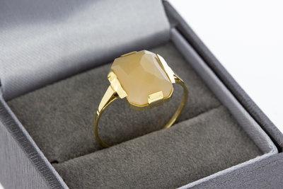 14 karaat gouden vintage ring gezet met Carneool - 18,8 mm
