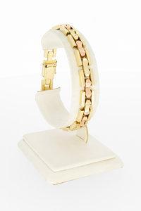 14 karaat geel gouden Tank schakel armband - 19 cm