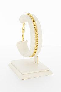 14 karaat geel gouden Gourmet schakel armband - 19,5 cm