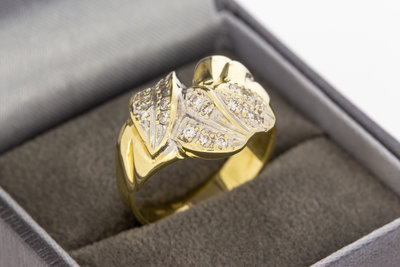14 Karaat gouden Fantasiering met briljant geslepen Diamant