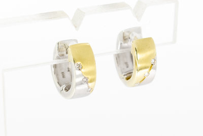 14 Karaat bicolor gouden Creolen met Diamant (1,3 cm)