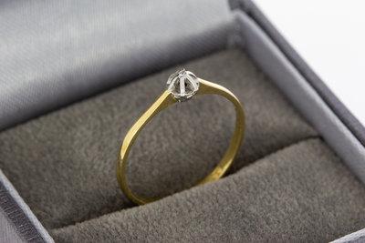 14 karaat bicolor gouden Solitair ring gezet Diamant- 16 mm