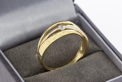 14 Karaat gouden Bandring gezet met Zirkonia -19,8