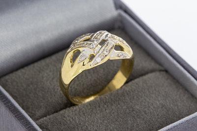14 Karaat bicolor gouden Bandring gezet met Zirkonia