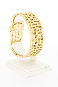 14 karaat geel gouden brede schakelarmband - 19,5 cm