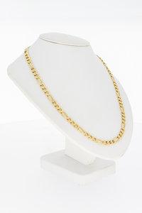 14 karaat geel gouden Figaro schakelketting - 62 cm