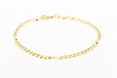 14 Karaat gouden Gourmet armband met tussenschakels - 18,8 cm