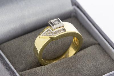 14 Karaat geelgouden ring gezet met Diamant