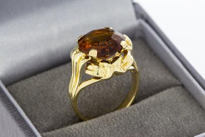 14 Karaat geelgouden ring gezet met Carneool