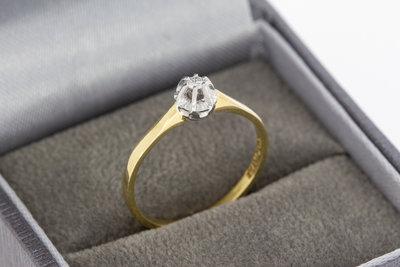 14 Karaat gouden Solitair ring gezet met Diamant- 16,9 mm