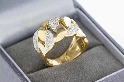 18 Karaat geel gouden Bandring met Diamant - 17,6 mm