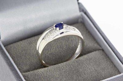 18 Karaat gouden Bandring met Saffier en Diamant - 18,6