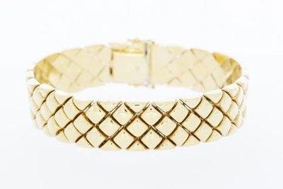 14 Karaat geelgouden brede schakelarmband - 20,1 cm