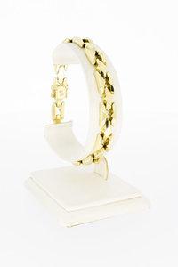 14 Karaat geel gouden brede schakelarmband - 19,8 cm