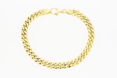 14 Karaat geelgouden gewalste Gourmet armband - 21,9 cm