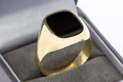 14 Karaat gouden Zegelring gezet met zwarte Onyx - 22,6 mm