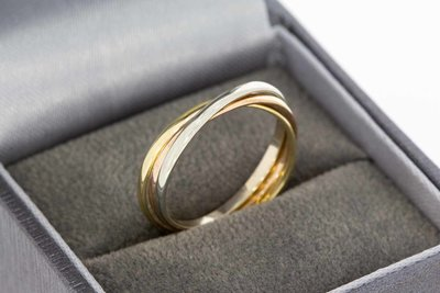 14 karaat tricolor gouden -3 in 1 Cartier style- ring
