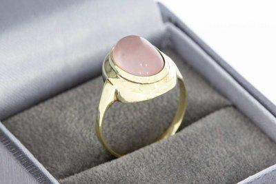 8 karaat fantasie ring gezet met roze kunststeen