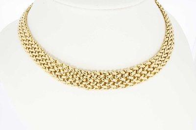 14 Karaat gevlochten geelgouden schakel collier - 42,3 cm