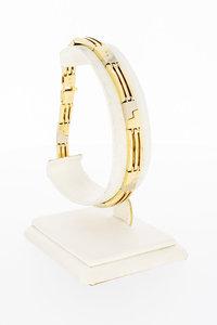 14 karaat bicolor gouden Staafjes schakelarmband - 21,3 cm