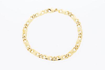 14 Karaat geelgouden Gourmet (Infinity) armband- 19,5 cm