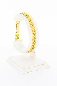 18 karaat geelgouden brede antieke schakelarmband - 19,7 cm