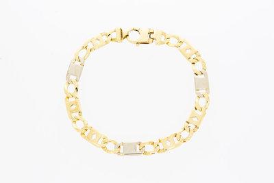 14 karaat bicolor gouden Rolex Koning schakelarmband - 20,5 cm