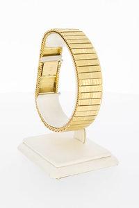 18 karaat geelgouden Plaatjes schakelarmband-20 cm